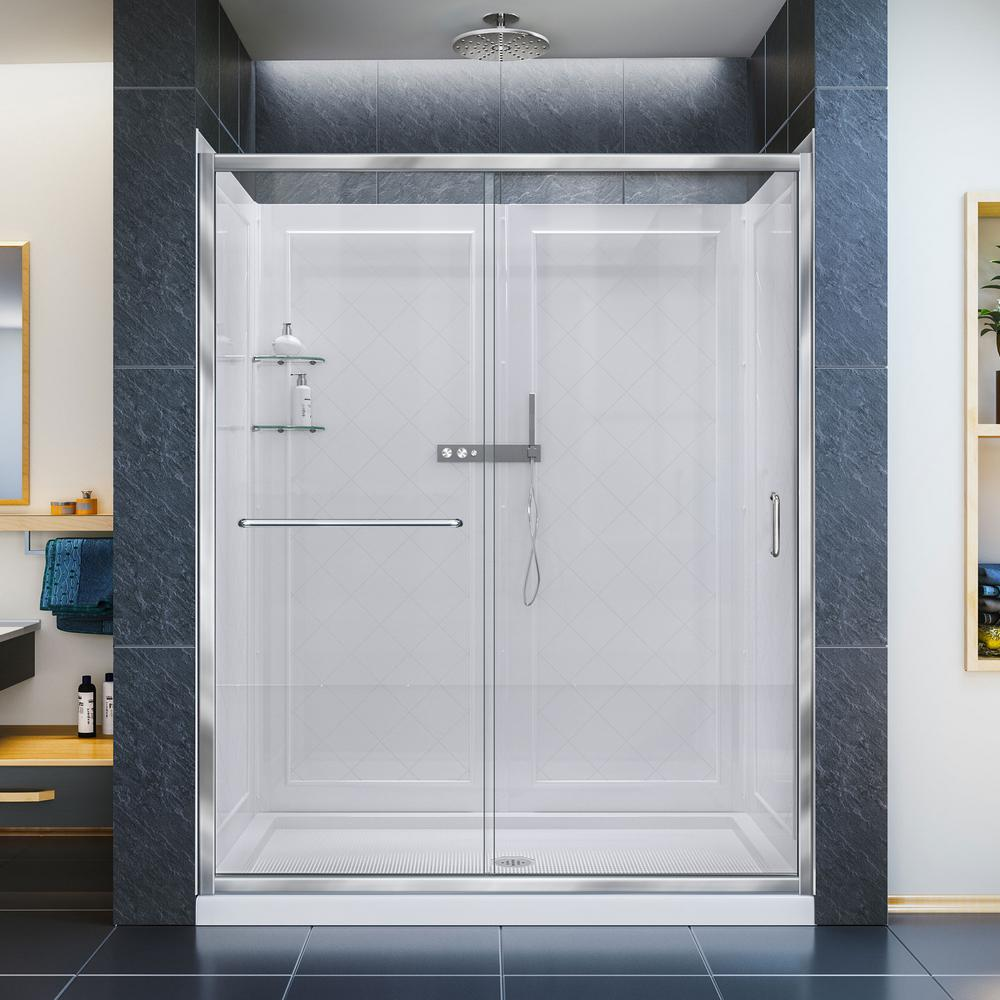 DreamLine Infinity-Z 30 in. x 60 in. x 76.75 in. Framed Sliding Shower Door in Chrome with Left Drain Base and Back Walls Kit