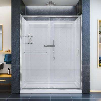 Infinity-Z 34 in. x 60 in. x 76.75 in. Framed Sliding Shower Door in Chrome with Right Drain Base and Back Walls Kit