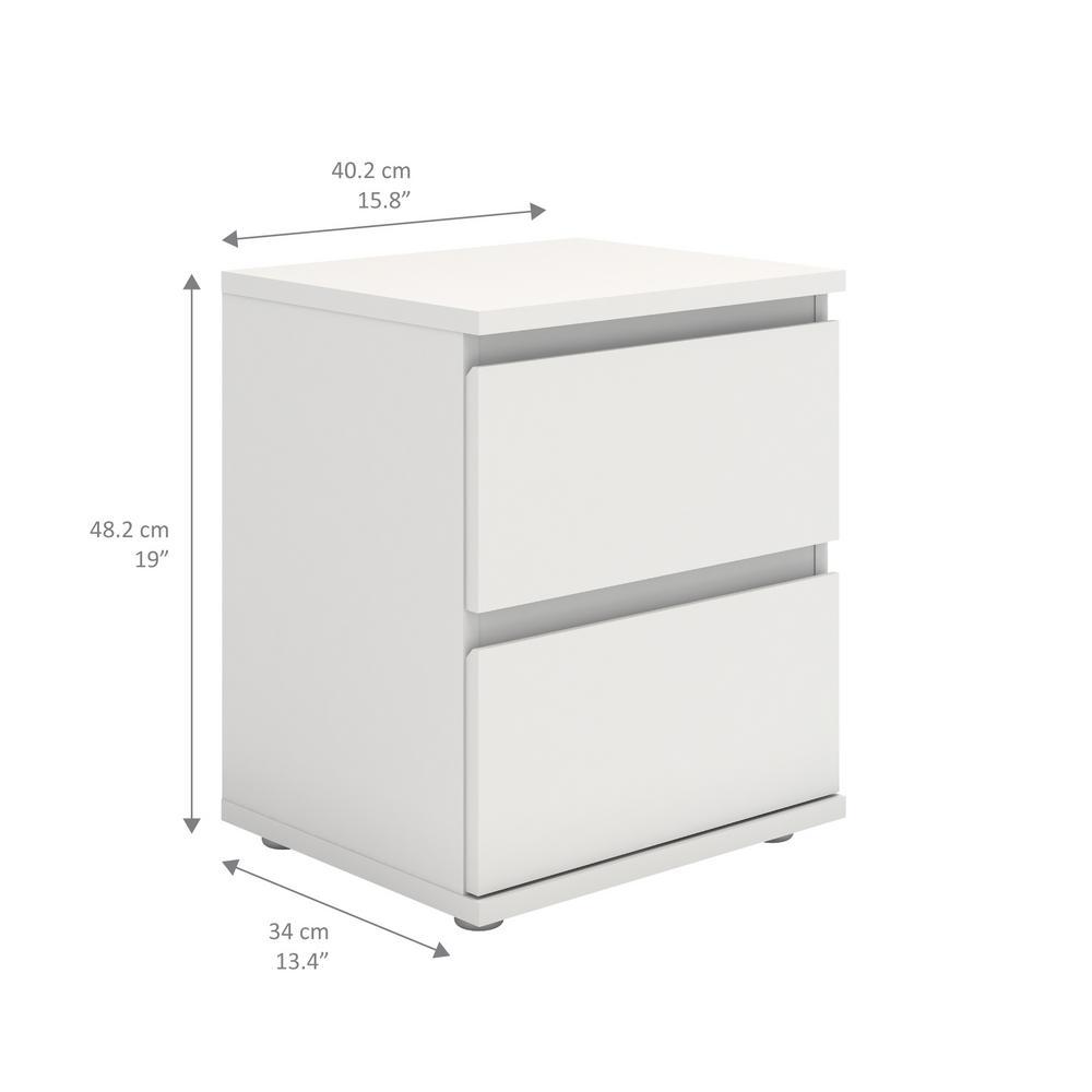 Tvilum Aurora 2 Drawer Nightstand in White