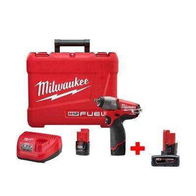 M12 FUEL 12-Volt Lithium-Ion Brushless Cordless 3/8 in. Impact Wrench Kit with Free M12 4Ah Extended Capacity Battery
