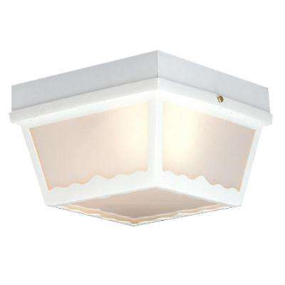 2-Light Matte White Outdoor Ceiling Flush-Mount Fixture