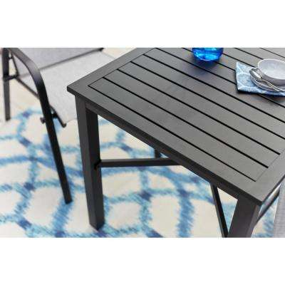 Mix and Match Black Metal 26 in. Square Outdoor Bistro Table with Slat Top