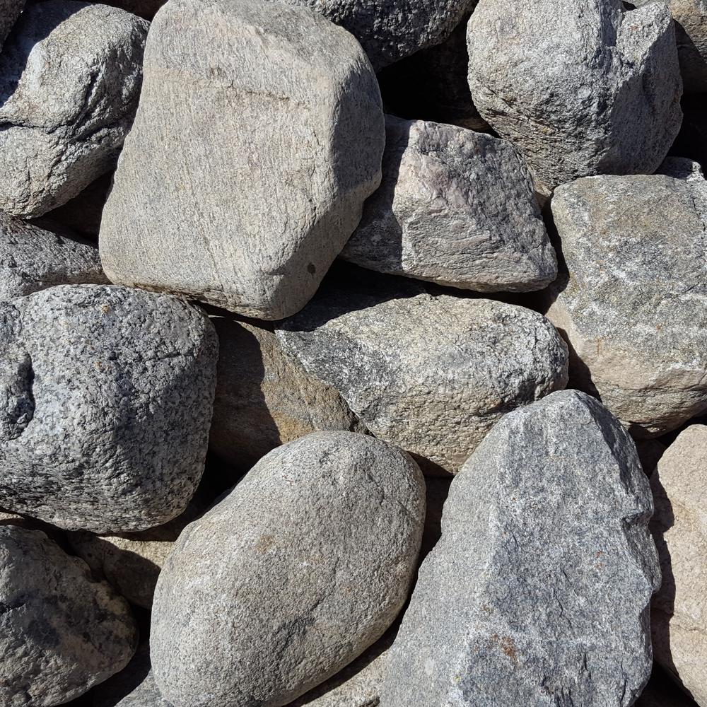 Butler arts 4 in to 8 in gray granite landscaping cobble for Grey rocks for landscaping
