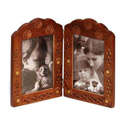 Hand Carved 4 in. x 6 in. Brown Mango Wood Hinged Double Photo Frame
