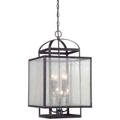 Black minka lavery pendant lights lighting the home depot camden square 8 light aged charcoal foyer pendant aloadofball Gallery