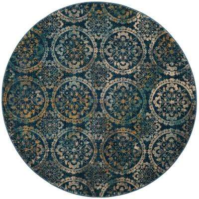 Evoke Navy/Cream 6 ft. 7 in. x 6 ft. 7 in. Round Area Rug
