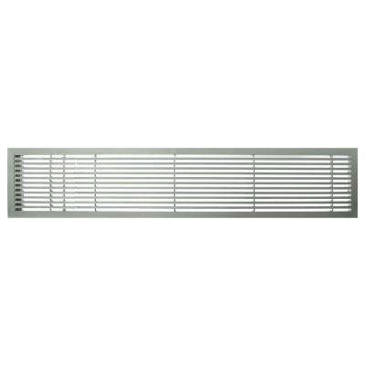 AG20 Series 4 in. x 48 in. Solid Aluminum Fixed Bar Supply/Return Air Vent Grille, Brushed Satin with Left Door