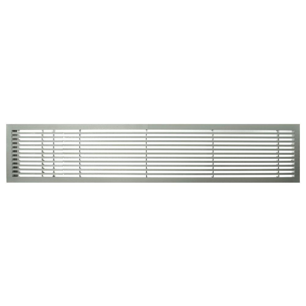 Architectural Grille AG20 Series 6 in. x 24 in. Solid Aluminum Fixed Bar Supply/Return Air Vent Grille, Brushed Satin with Left Door