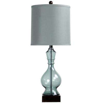 31 in. Asteria Blue Table Lamp with Grey Hardback Fabric Shade
