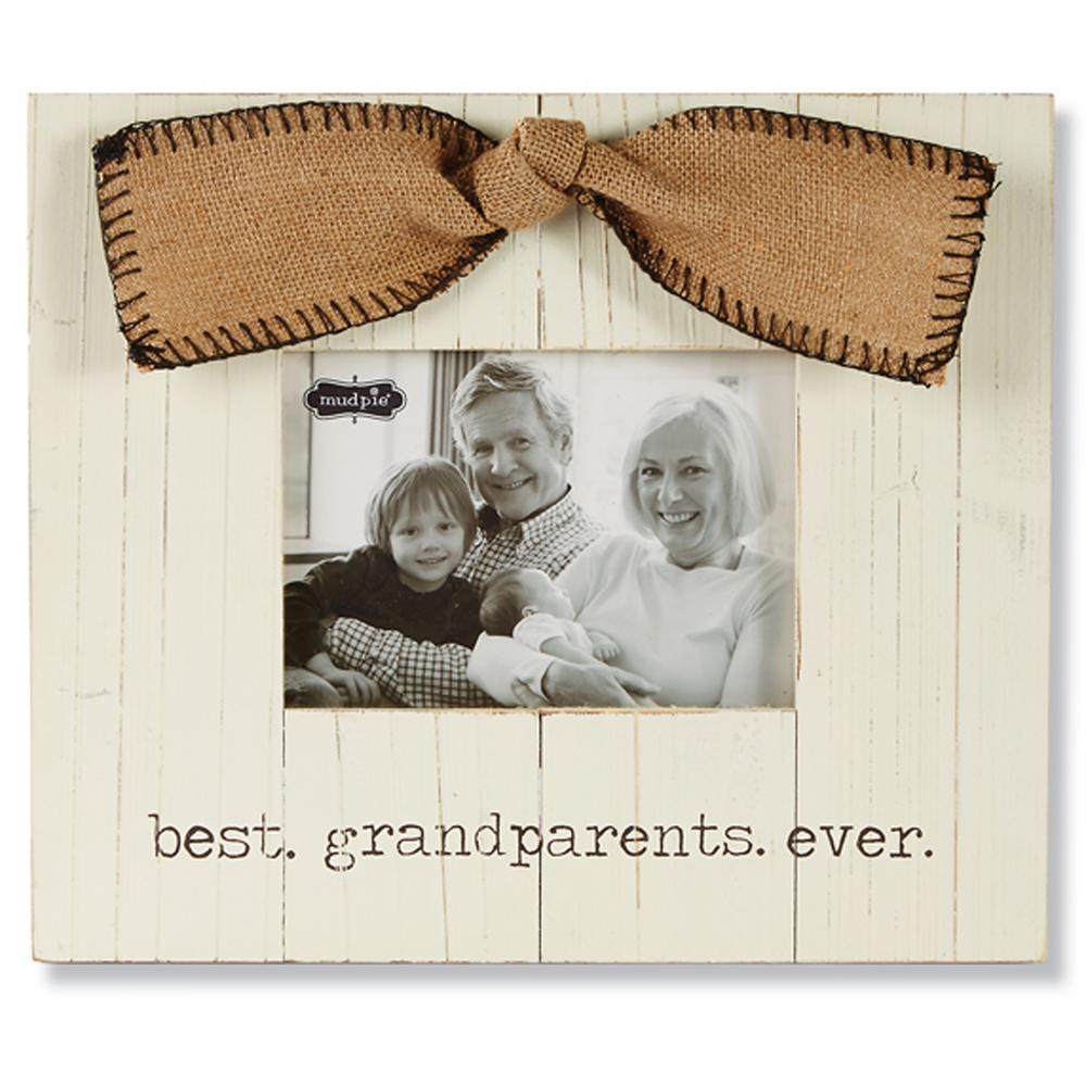 Grandparents 5 in. x 7 in. White Painted Pine Horizontal Frame with ...