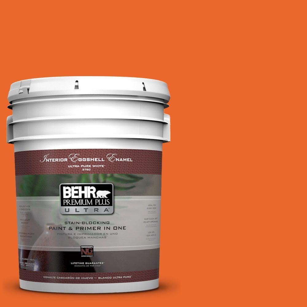 BEHR Premium Plus Ultra 5-gal. #220B-7 Electric Orange Eggshell Enamel Interior Paint