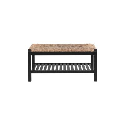 Dorsey Black Wood Entryway Bench with Rush Seat (37.99 in. W x 17.72 in. H)