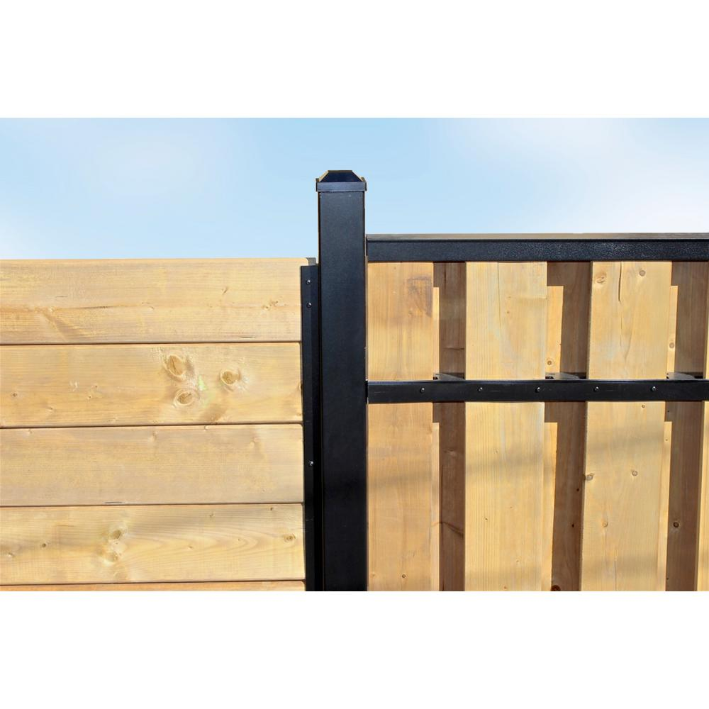 Slipfence 3 in  x 3 in  x 9 ft  4 in  Black Powder Coated Aluminum Fence  Post Includes Post Cap
