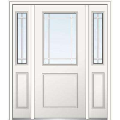 60 in. x 80 in. Internal Grilles Right-Hand 1/2-Lite Clear Primed Fiberglass Smooth Prehung Front Door with Sidelites