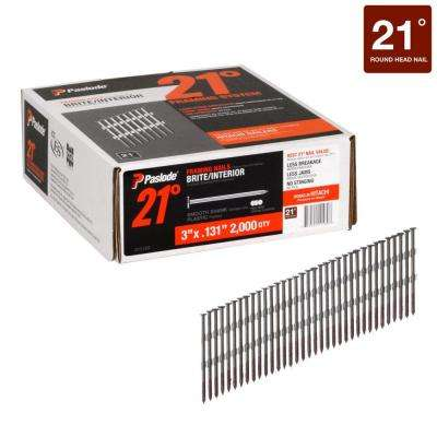 3 in. x 0.131-Gauge 21° Brite Smooth Shank Plastic Collated Framing Nails 2000 per Box