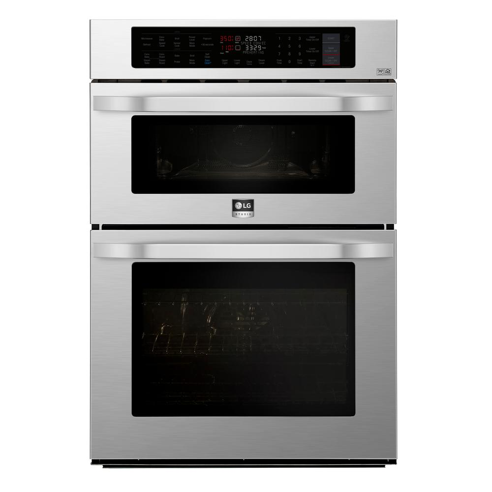 LG STUDIO 30 in. Electric Convection and EasyClean Wall Oven with Built-In Microwave in Stainless Steel