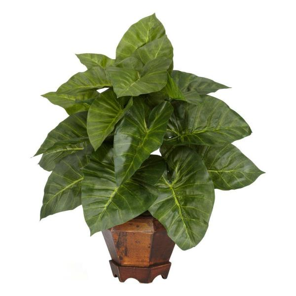 Nearly Natural 17 in. H Green Taro with Vase Silk Plant