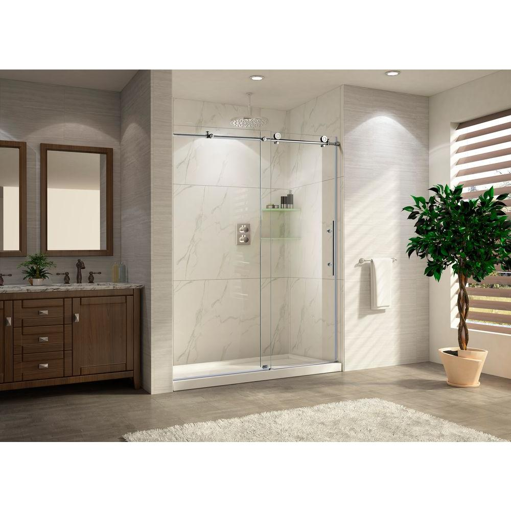 Charmant Trident Lux 48 Premium 48 In. W X 76 In. H Frameless Sliding Shower Door In  Chrome With Tempered Clear Glass