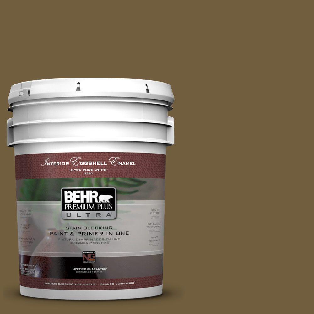 BEHR Premium Plus Ultra 5-gal. #360F-7 Olive Shadow Eggshell Enamel Interior Paint