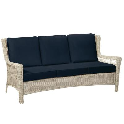 Park Meadows Off-White Wicker Outdoor Patio Sofa with CushionGuard Midnight Navy Blue Cushions