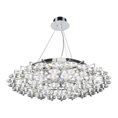 18-Light Polished Chrome Pendant with Clear Glass Shade
