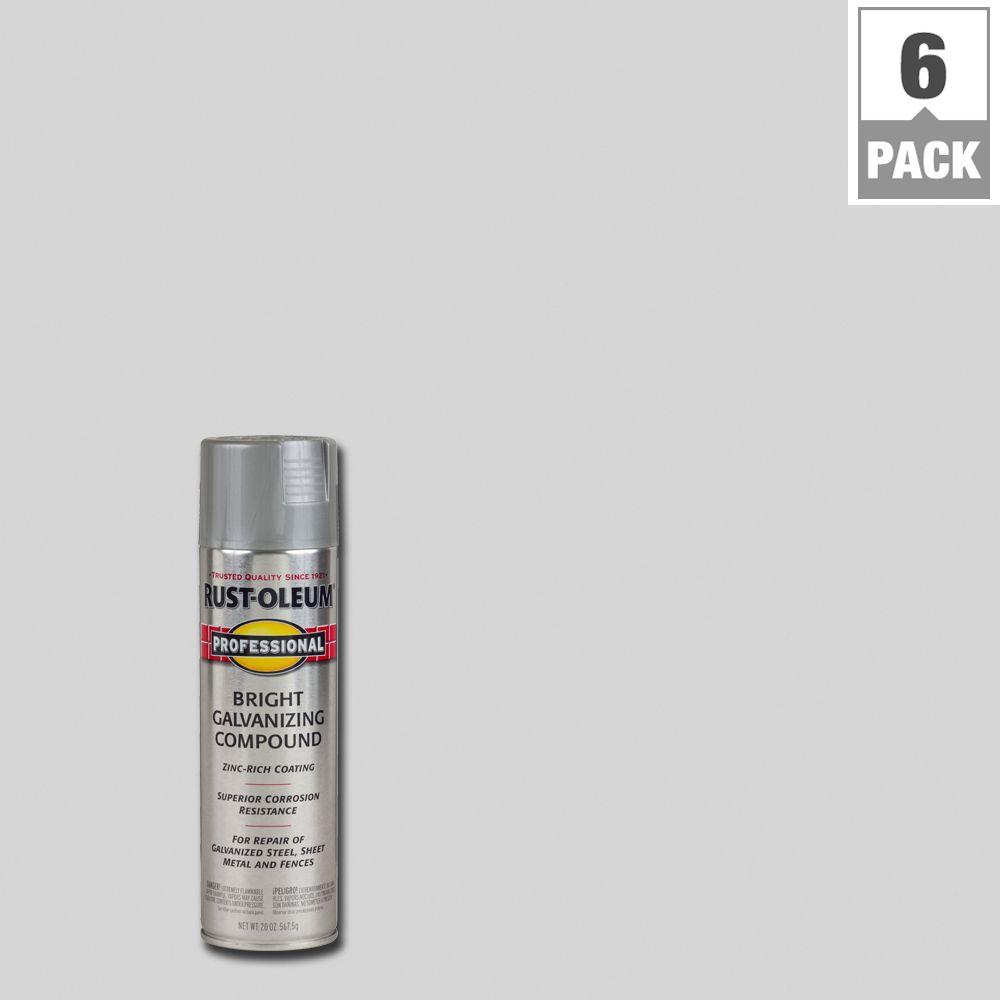 Rust-Oleum Professional 20 oz. Gray Bright Galvanizing Compound Spray (6-Pack)