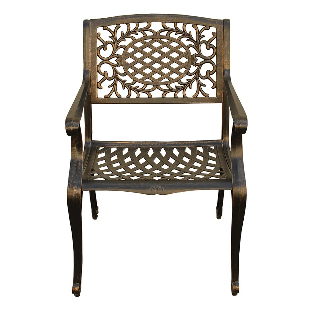 Ornate Traditional Mesh Lattice Bronze Aluminum Outdoor Dining Chair