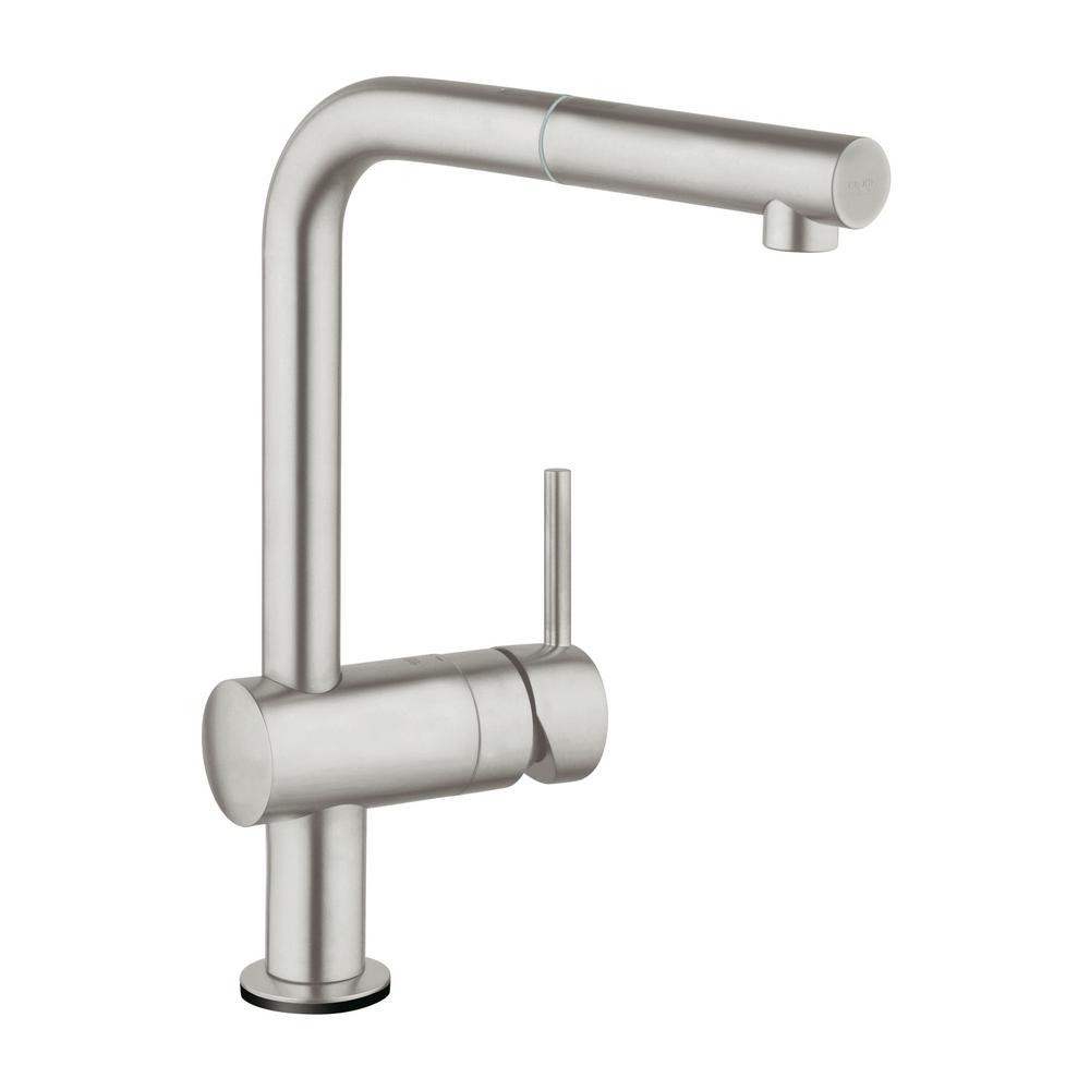Grohe Minta Touch Single Handle Pull Out Sprayer Kitchen Faucet In