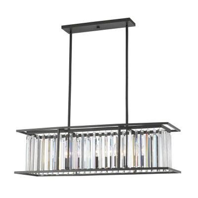 Mersesse 6-Light Bronze Pendant with Clear Crystal Shade