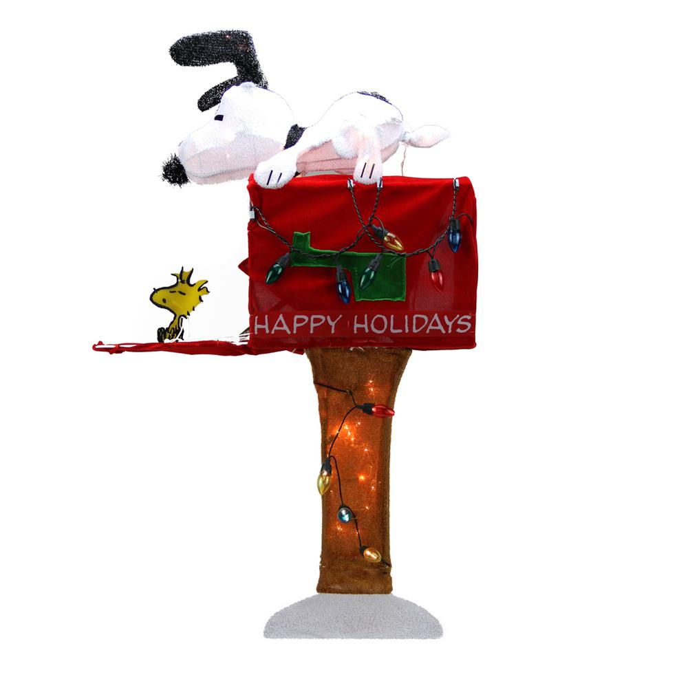 Product Works 36 in Christmas Pre Lit Peanuts Snoopy with Red Mailbox Animated Outdoor Decoration in Clear Lights