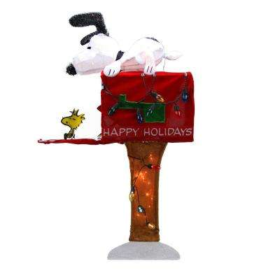 36 in. Christmas Pre-Lit Peanuts Snoopy with Red Mailbox Animated Outdoor Decoration in Clear Lights