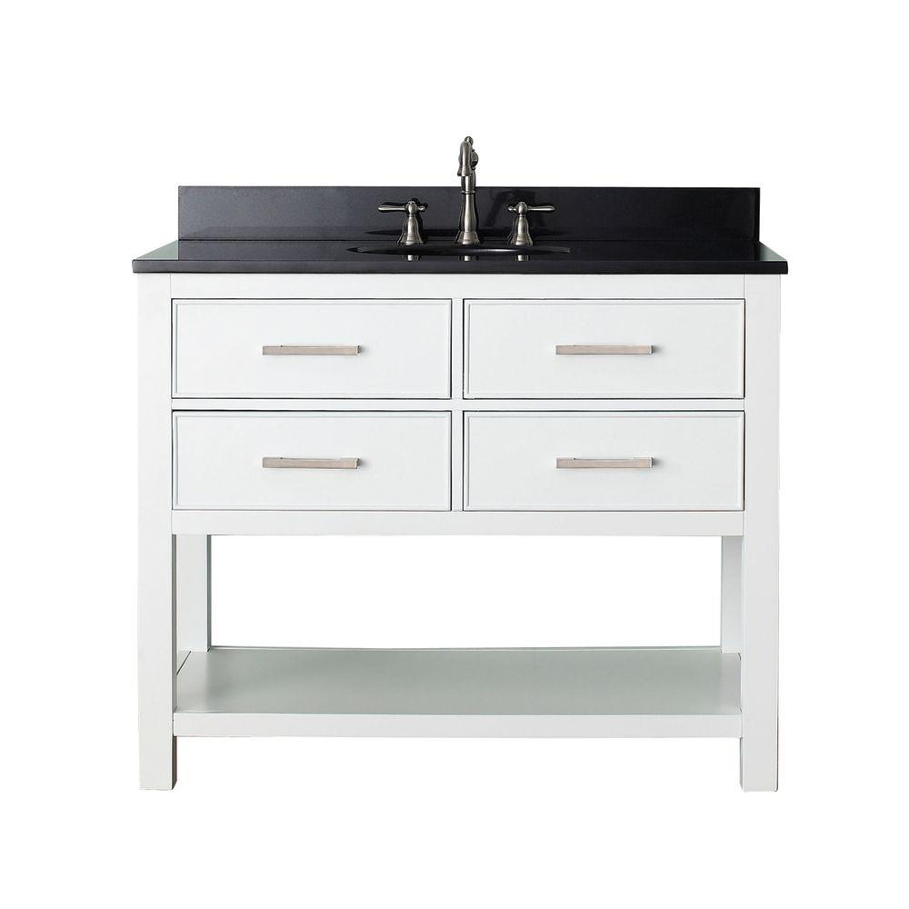 Avanity Brooks 43 In W X 22 In D X 35 In H Vanity In White With Granite Vanity Top In Black And White Basin Brooks Vs42 Wt A The Home Depot