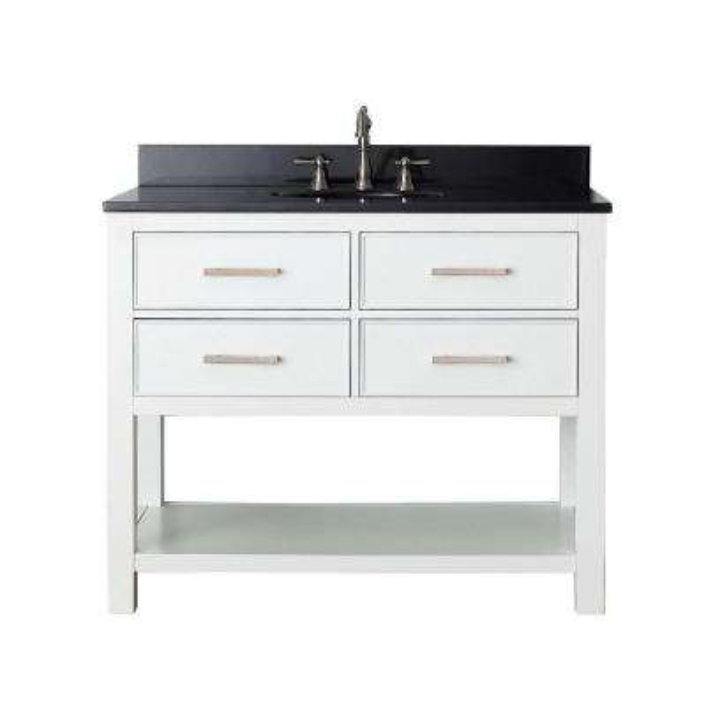 Brooks 43 in. W x 22 in. D x 35 in. H Vanity in White with Granite Vanity Top in Black and White Basin