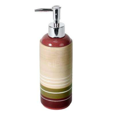 Madison Stripe Ceramic Lotion Dispenser in Red