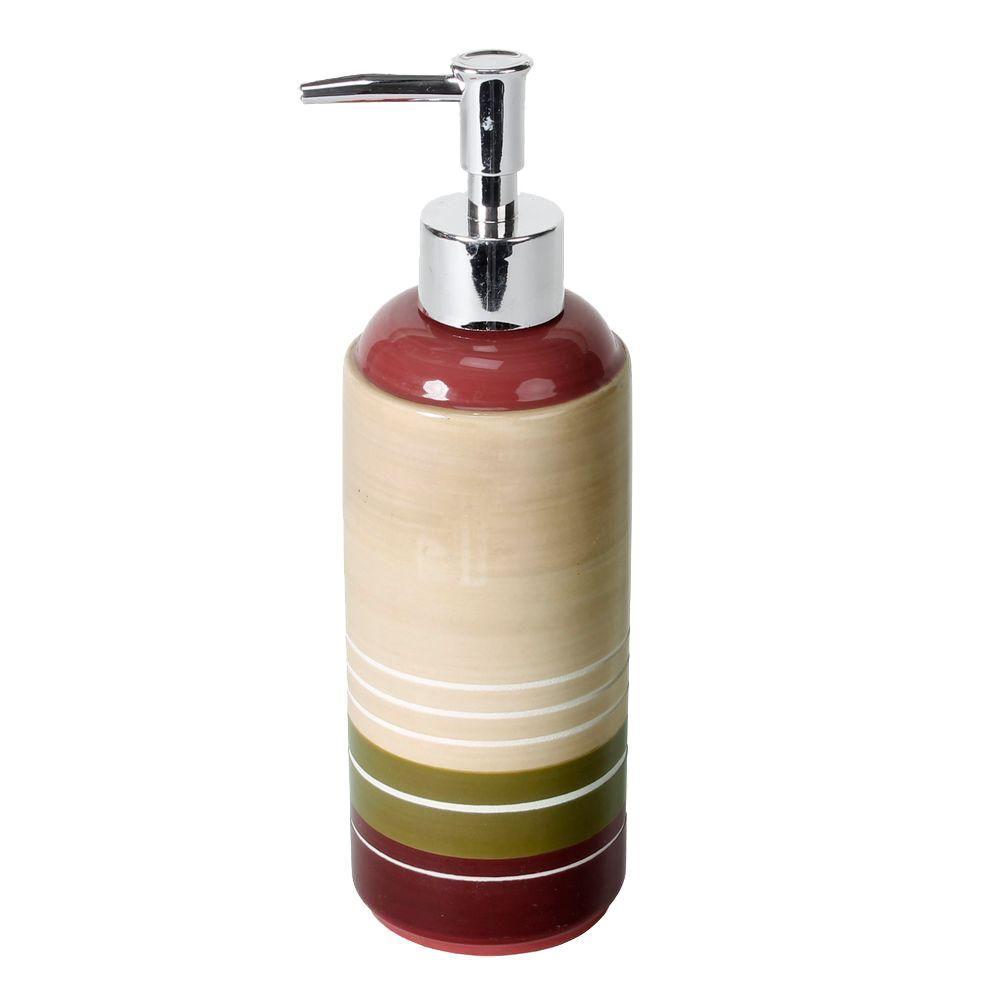 Madison Stripe Ceramic Lotion Dispenser in Red