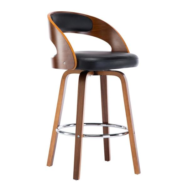 26 in. Black Mid-Century Modern Faux Leather Swivel Barstool with Back
