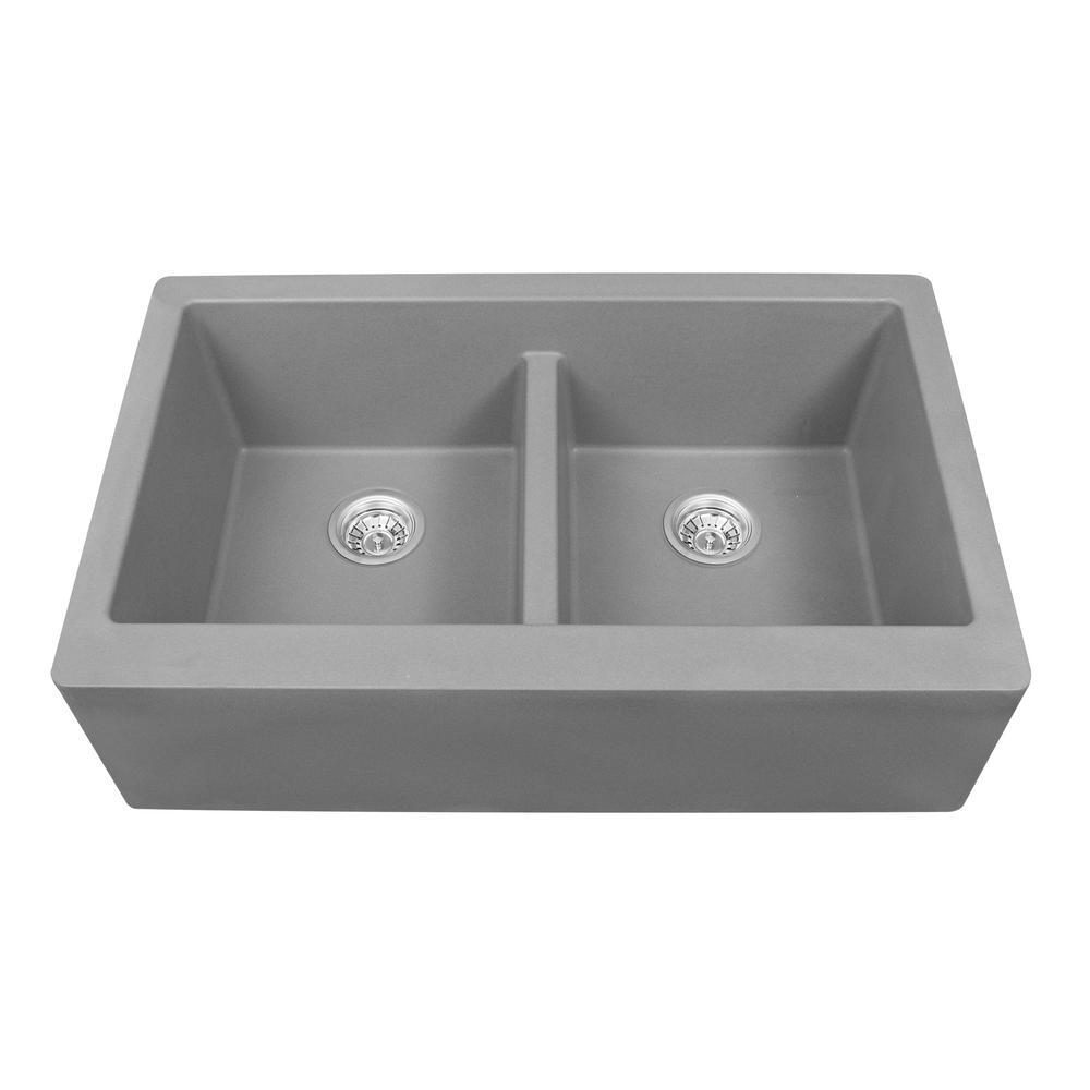 Farmhouse Apron Front Quartz Composite 34 in. Double Bowl Kitchen Sink in Grey