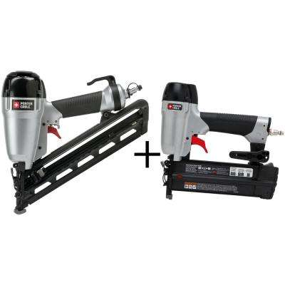 15-Gauge Pneumatic 2-1/2 in. Angled Finish Nailer Kit with Bonus 18-Gauge Brad Nailer Kit