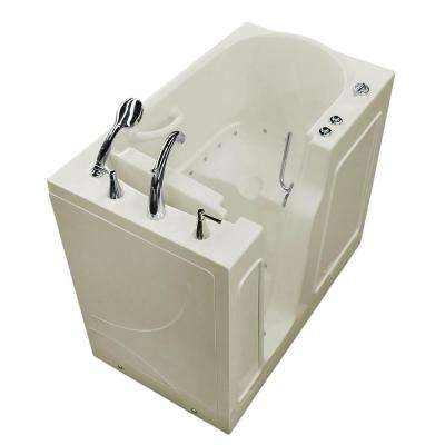 HD Series 46 in. Left Drain Quick Fill Walk-In Air Bath Tub with Powered Fast Drain in Biscuit