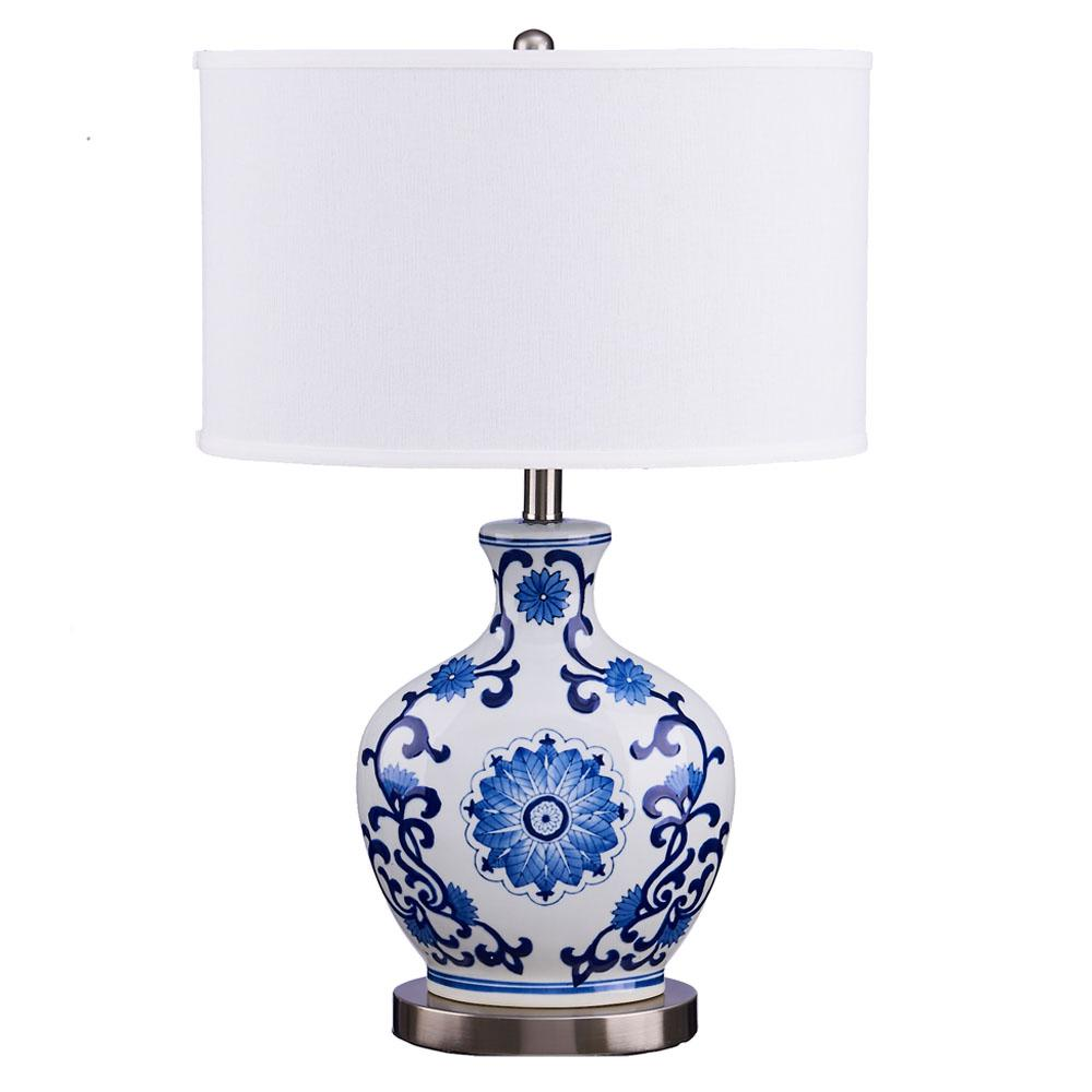 26 in blue and white scroll print brushed steel base table lamp blue and white scroll print brushed steel base table lamp with linen shade aloadofball Image collections