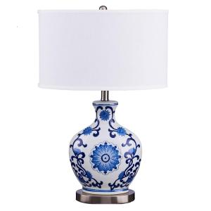 blue and white lamps. Blue And White Scroll Print Brushed Steel Base Table Lamp With Linen Shade LED Bulb Included-20418-001 - The Home Depot Lamps