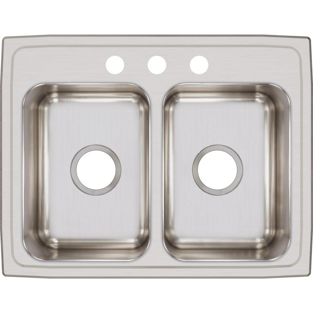 Elkay Elkay Lustertone Drop-In Stainless Steel 25 in. 3-Hole Double Bowl Kitchen Sink, Silver