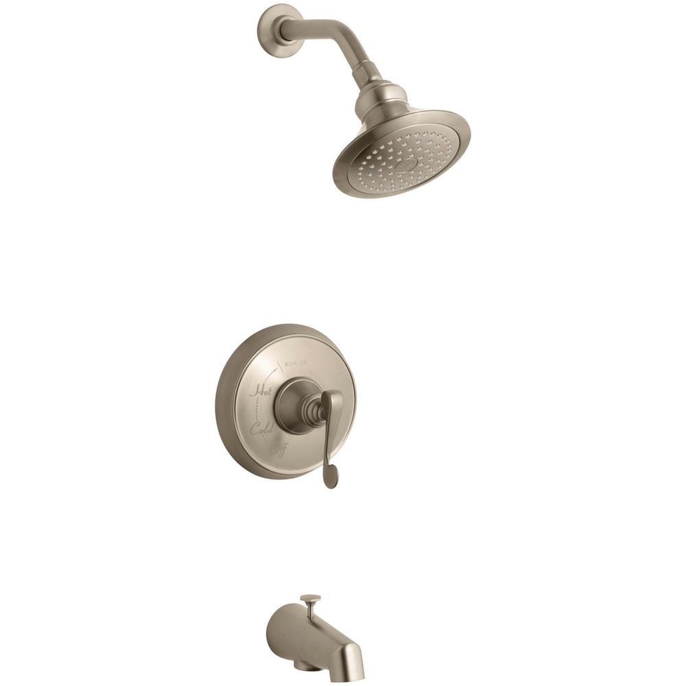 KOHLER Revival 1-Handle 1-Spray  Tub and Shower Faucet with Scroll Lever Handle in Vibrant Brushed Bronze (Valve Not Included)