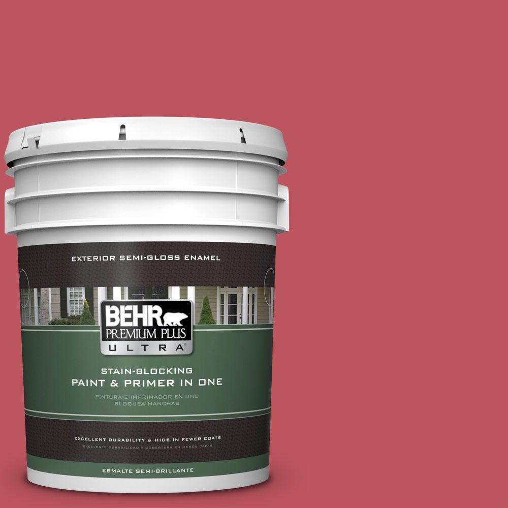 BEHR Premium Plus Ultra 5-gal. #P140-6 Hibiscus Flower Semi-Gloss Enamel Exterior Paint