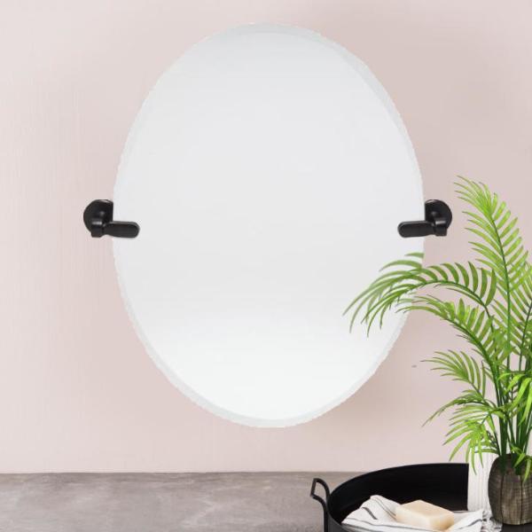 21 in. W x 24 in. H Frameless Oval Bathroom Vanity Mirror in Bronze