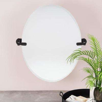 21 in. W x 24 in. H Oval Pivoting Beveled Frameless Mirror with Oil Rubbed Bronze Hardware