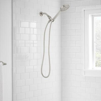Modern 6-Spray 4.5 in. Single Wall Mount Handheld Adjustable Shower Head in Brushed Nickel