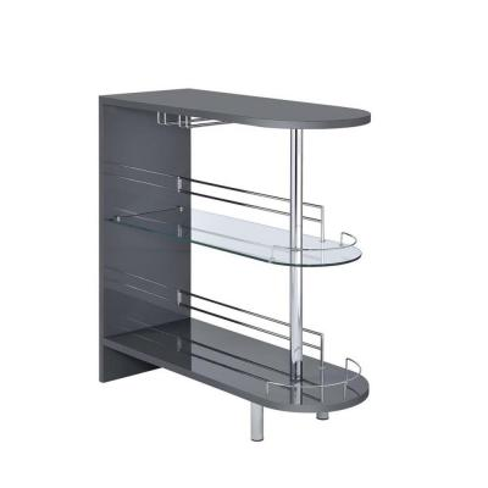 Gray Contemporary Bar Unit with Glass Shelves
