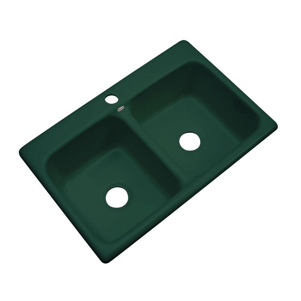 Newport Drop-In Acrylic 33 in. 1-Hole Double Bowl Kitchen Sink in