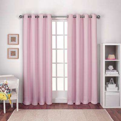 Textured Woven 52 in. W x 84 in. L Woven Blackout Grommet Top Curtain Panel in Bubble Gum Pink (2 Panels)
